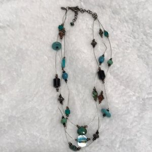Chico's Beaded necklace 3 strand turquoise glass